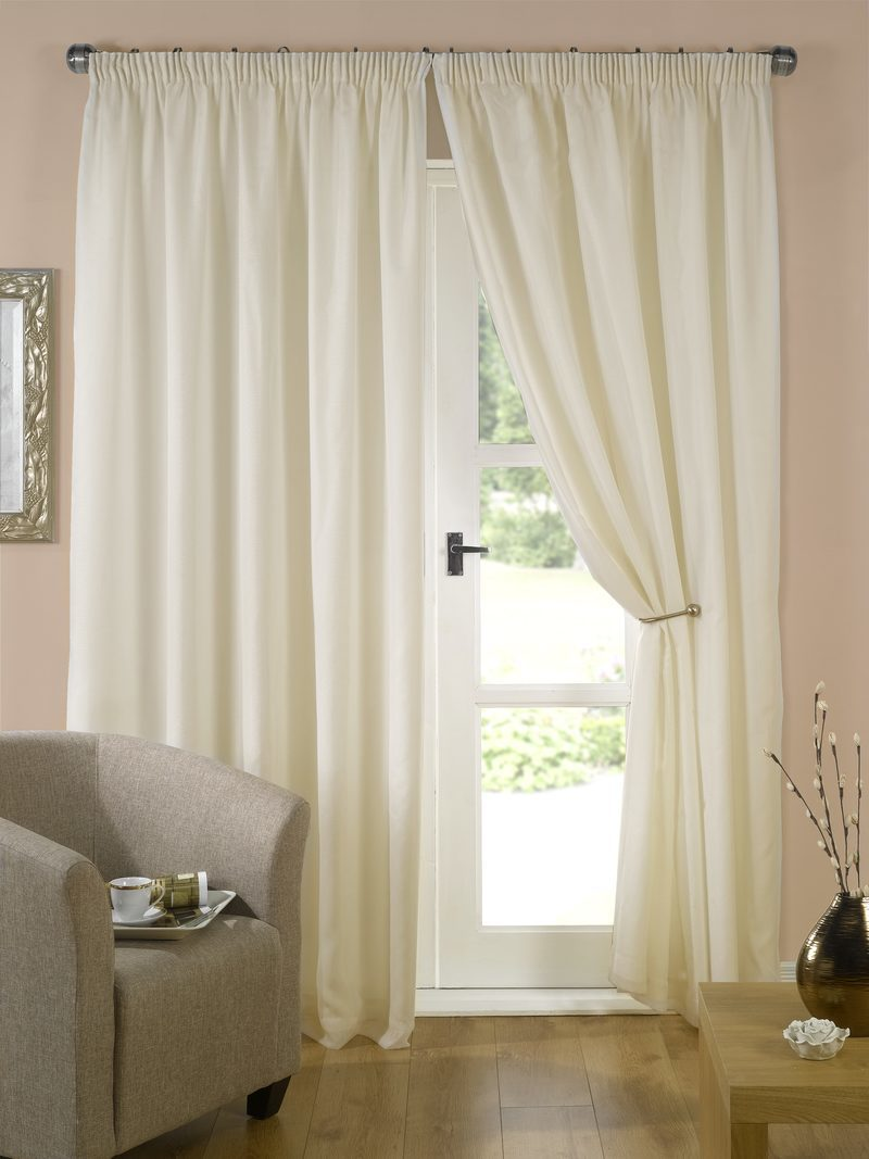 Cream Evie Ready Made Lined Voile Curtains