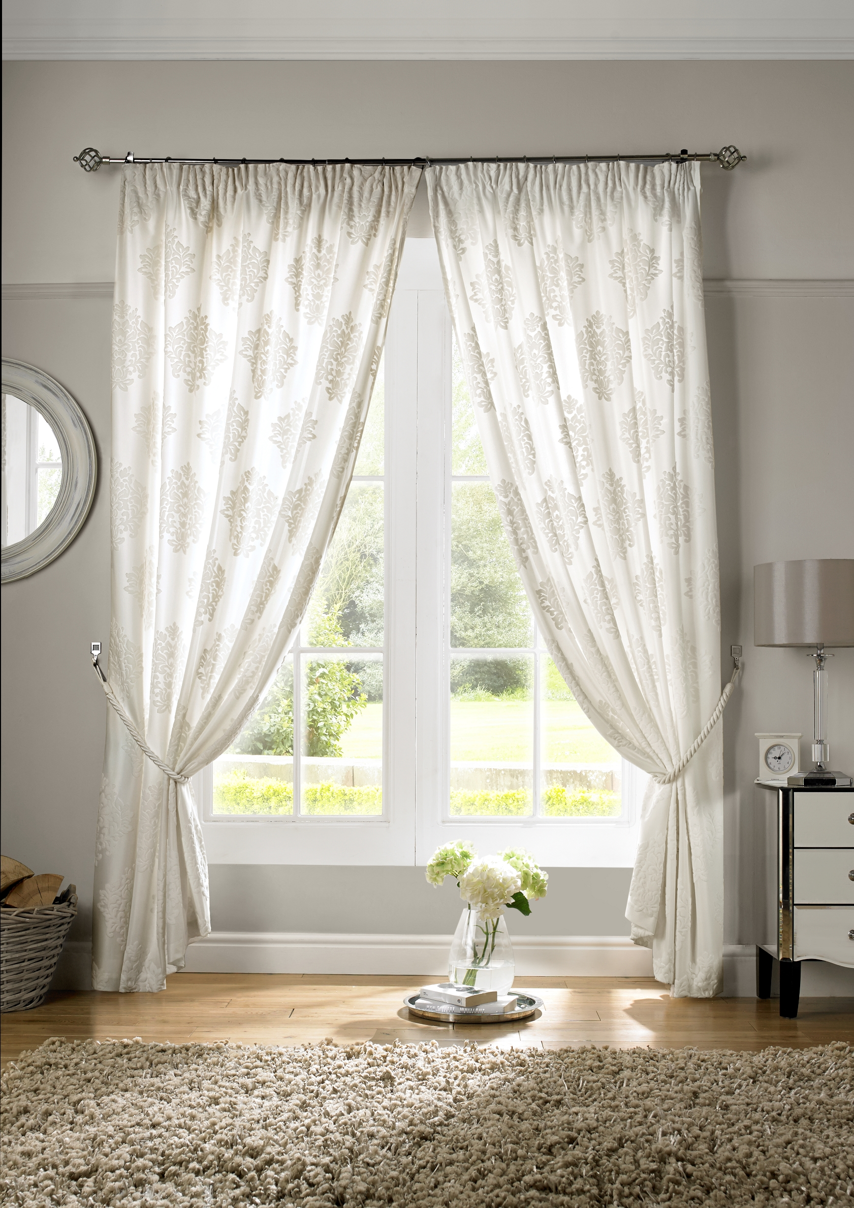 Cream Velvet Voile Ready Made Lined Curtains