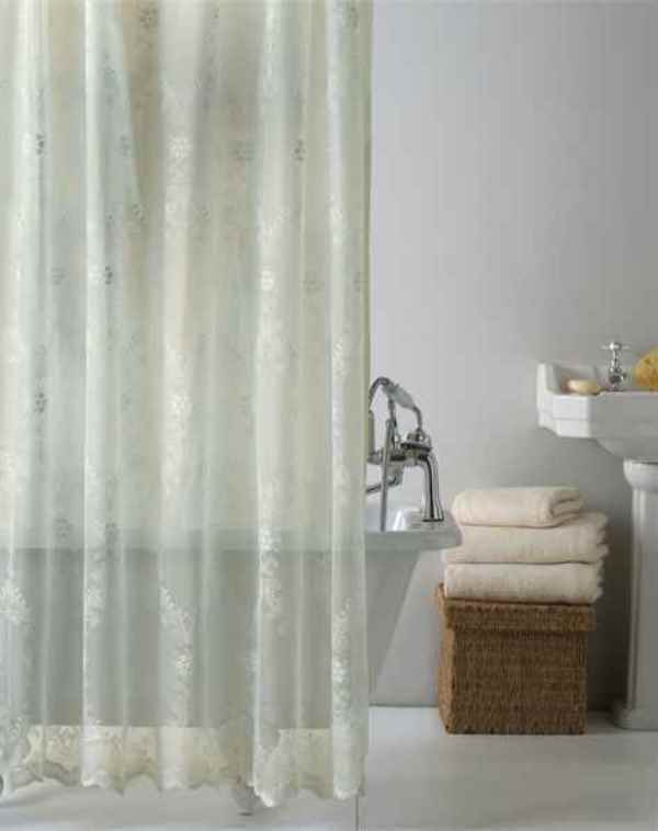Cream Lace Shower Curtain With Hooks