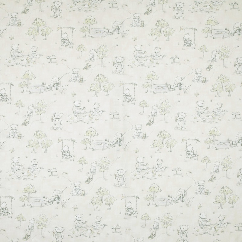 Pastels Teddys Picnic Curtain Fabric