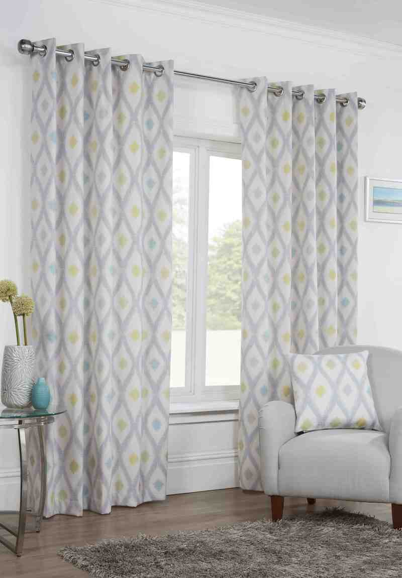 Duck Egg Bordeaux Ready Made Lined Eyelet Curtains