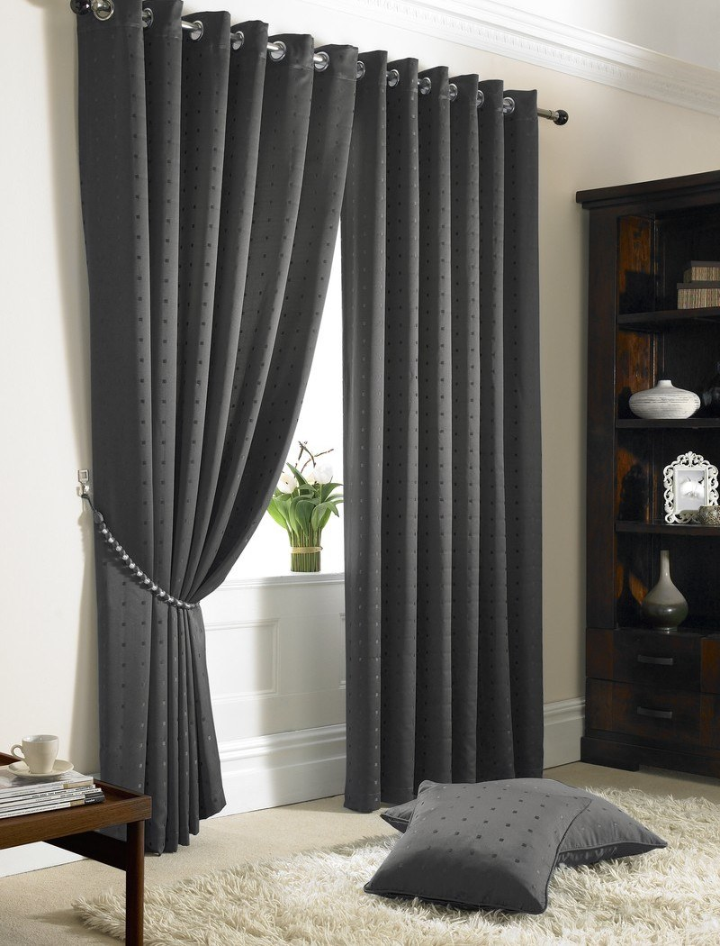 Charcoal Madison Ready Made Lined Eyelet Curtains