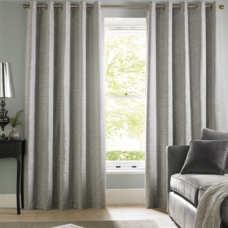Silver Cairo Ready Made Lined Eyelet Curtains