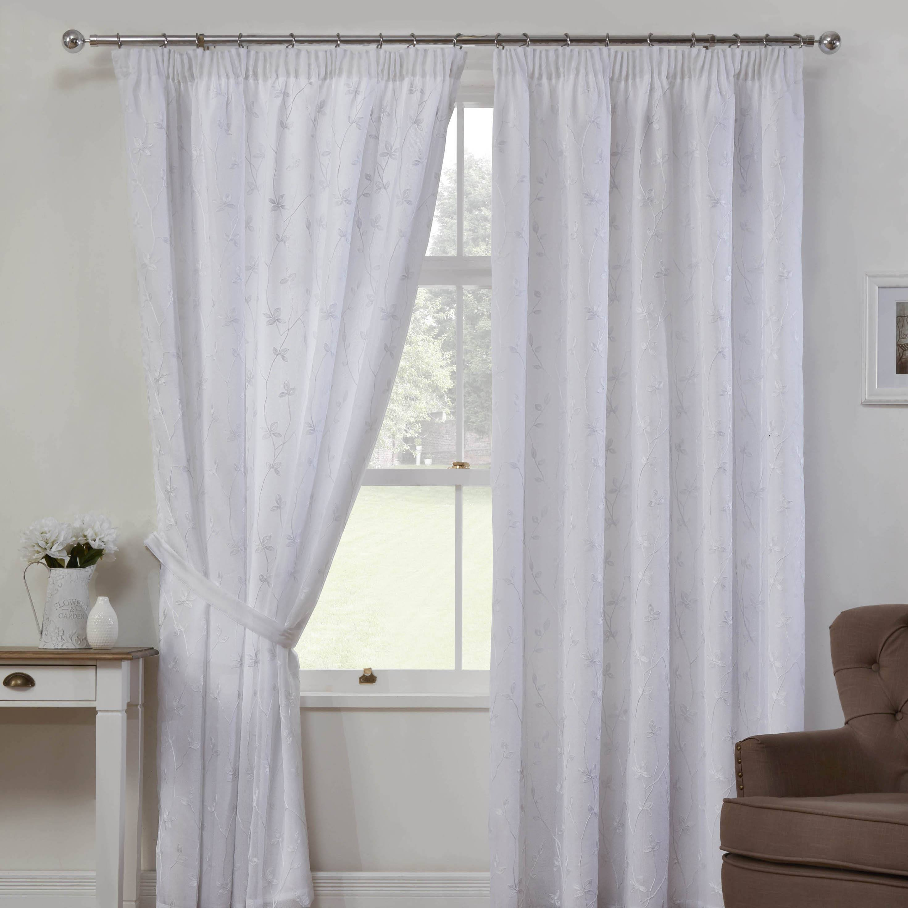 White Como Linen Look Ready Made Lined Voile Curtains