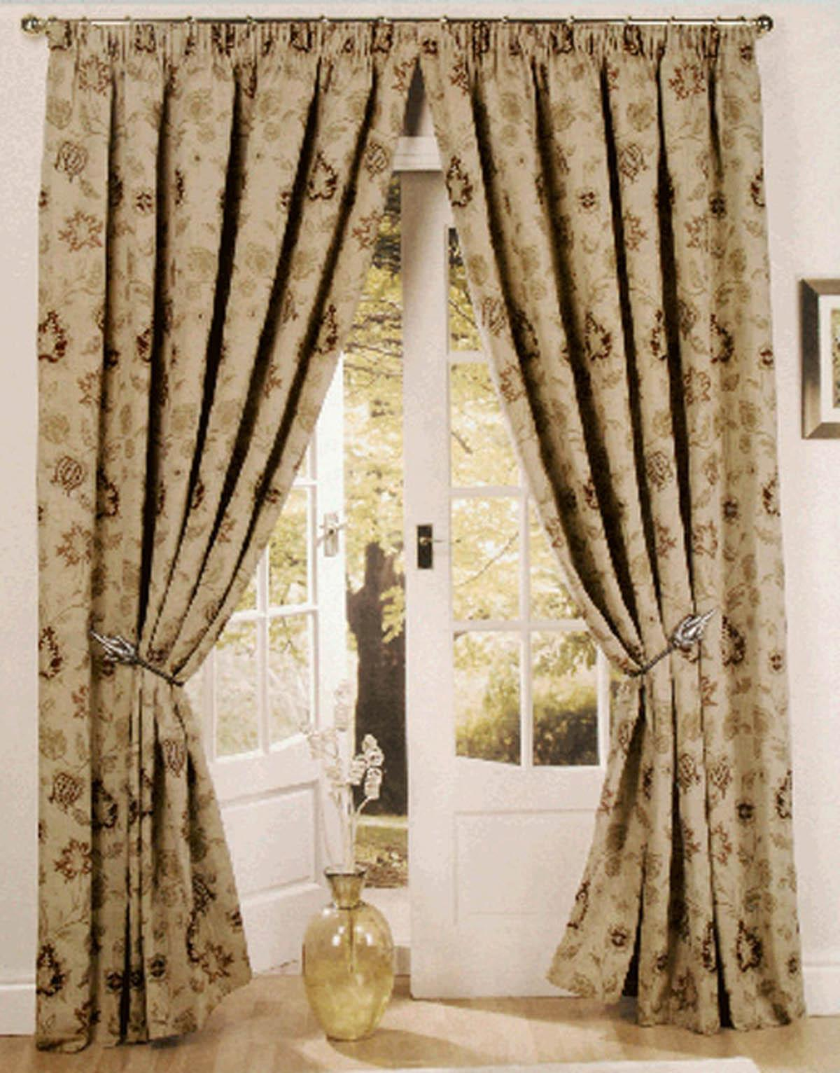 Champagne Zurich Lined Ready Made Curtains