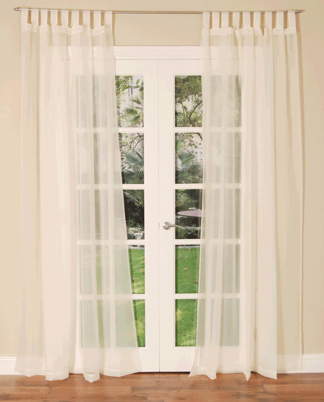 Cream Tab Top Voile Single Curtain Panel