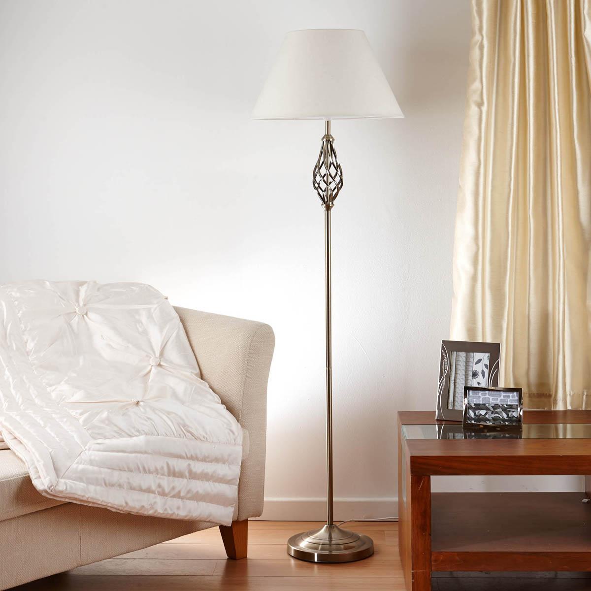 Antique Brass Barley Twist Floor Lamp