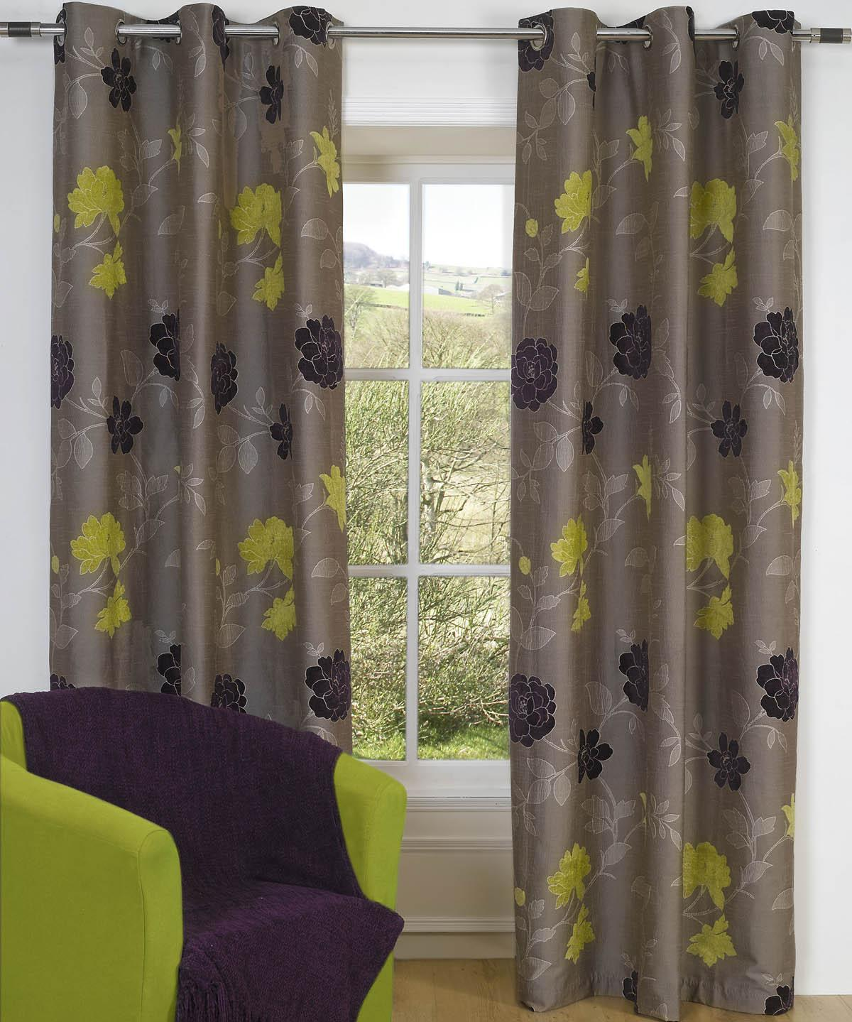 AppleBlackcurrant Casablanca Ready Made Eyelet Curtains