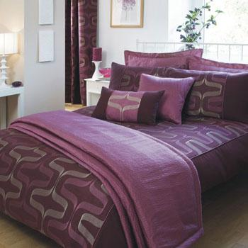 Damson Desire Embroidered Duvet Cover by Julian Charles