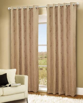 Gold Turin Ready Made Eyelet Curtains