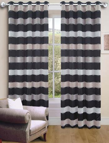 Black Empire Stripe Ready Made Eyelet Curtains