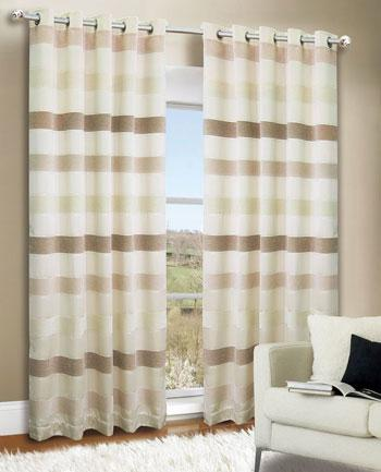 Natural Empire Stripe Ready Made Eyelet Curtains