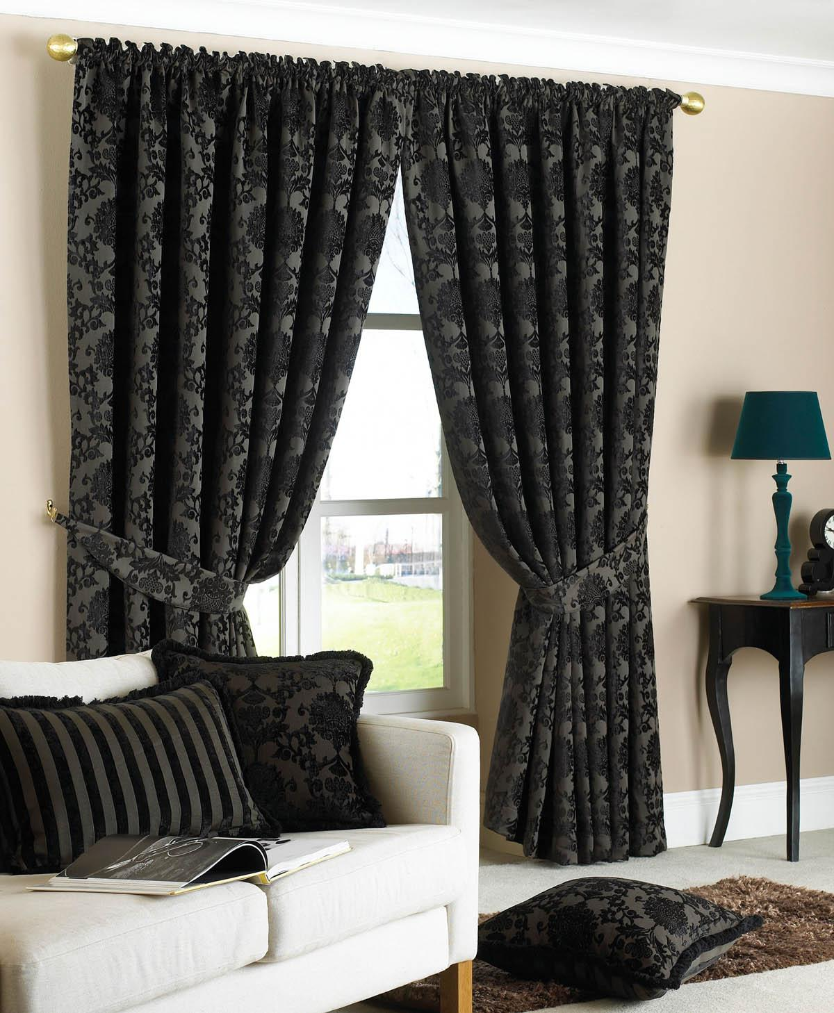 Black Hanover Ready Made Curtains