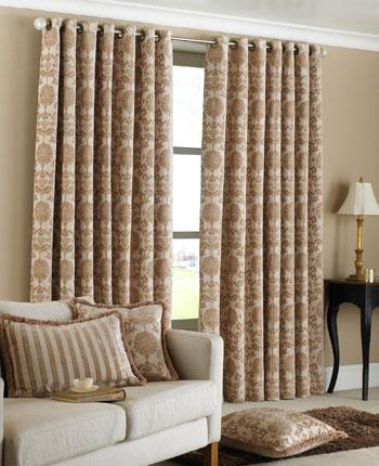 Beige Hanover Ready Made Eyelet Curtains