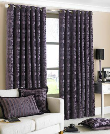 Damson Hanover Ready Made Eyelet Curtains