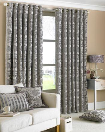 Silver Hanover Ready Made Eyelet Curtains