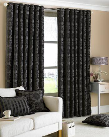 Black Hanover Ready Made Eyelet Curtains