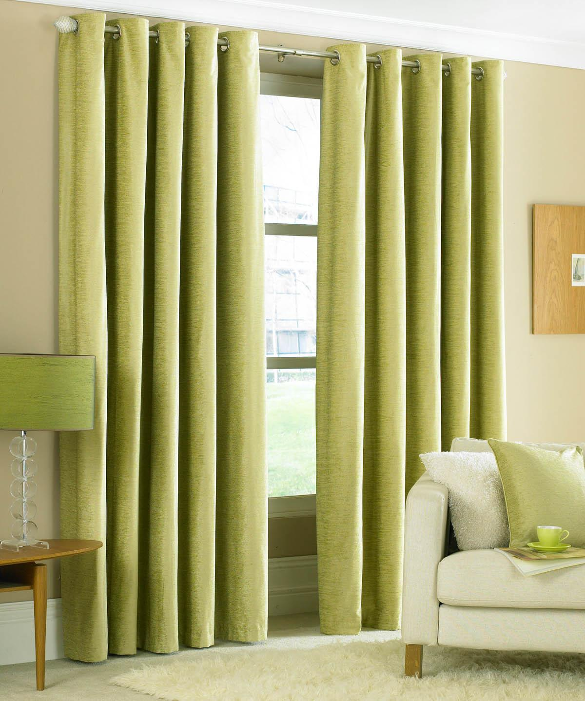 Green Valentino Ready Made Eyelet Curtains