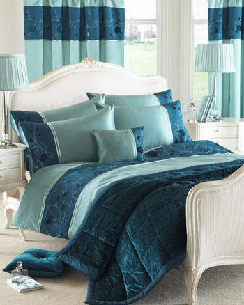 Teal Valencia Embroidered Duvet Cover