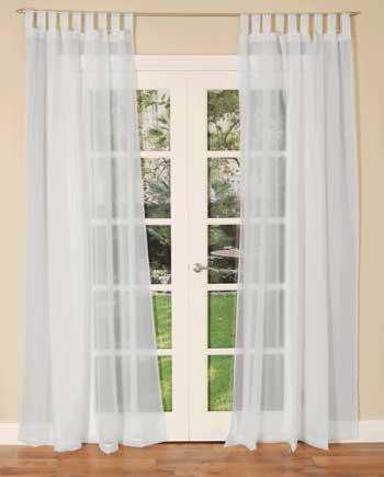 White Tab Top Voile Single Curtain Panel