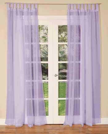 Lilac Tab Top Voile Single Curtain Panel