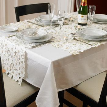 CreamGold Cut Out Poinsettia Table Linen