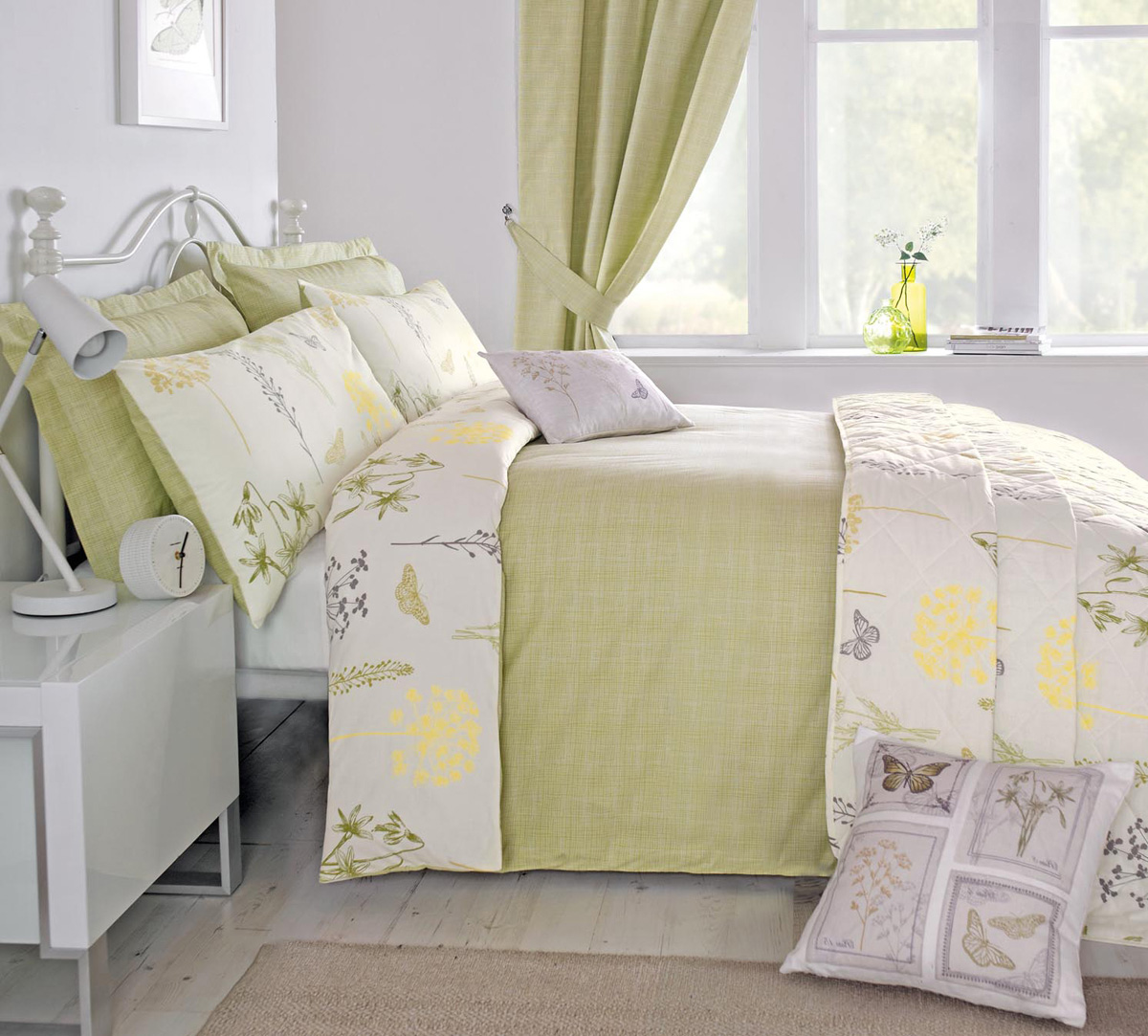 Botanique Bedding Set - Botanique Bedding Set In Green Free UK Delivery  Terrys Fabrics - Green Bedding Design Your Life