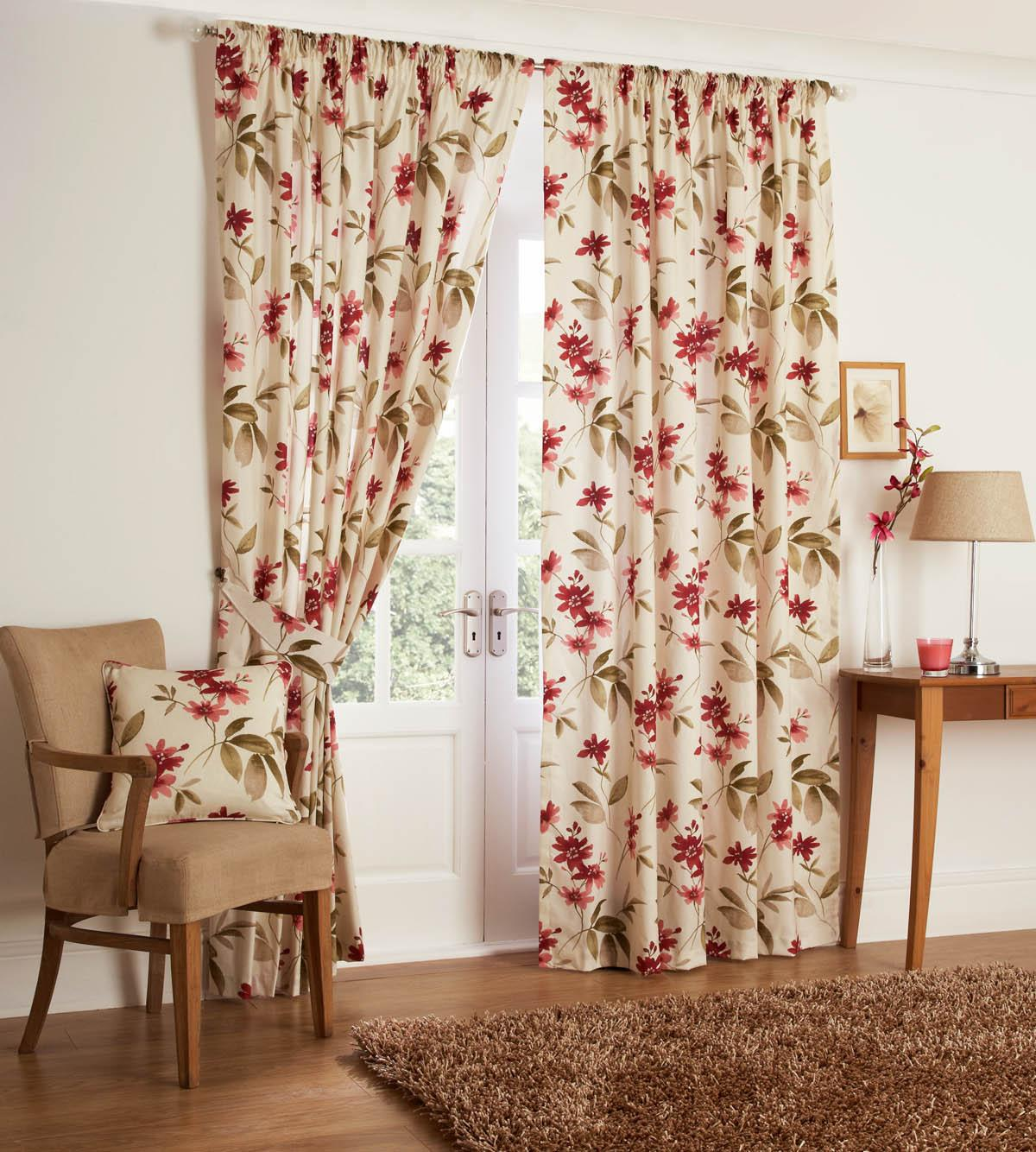 Kerena Printed Ready Made Curtains Free UK Delivery Terrys Fabrics - Ready made curtains red