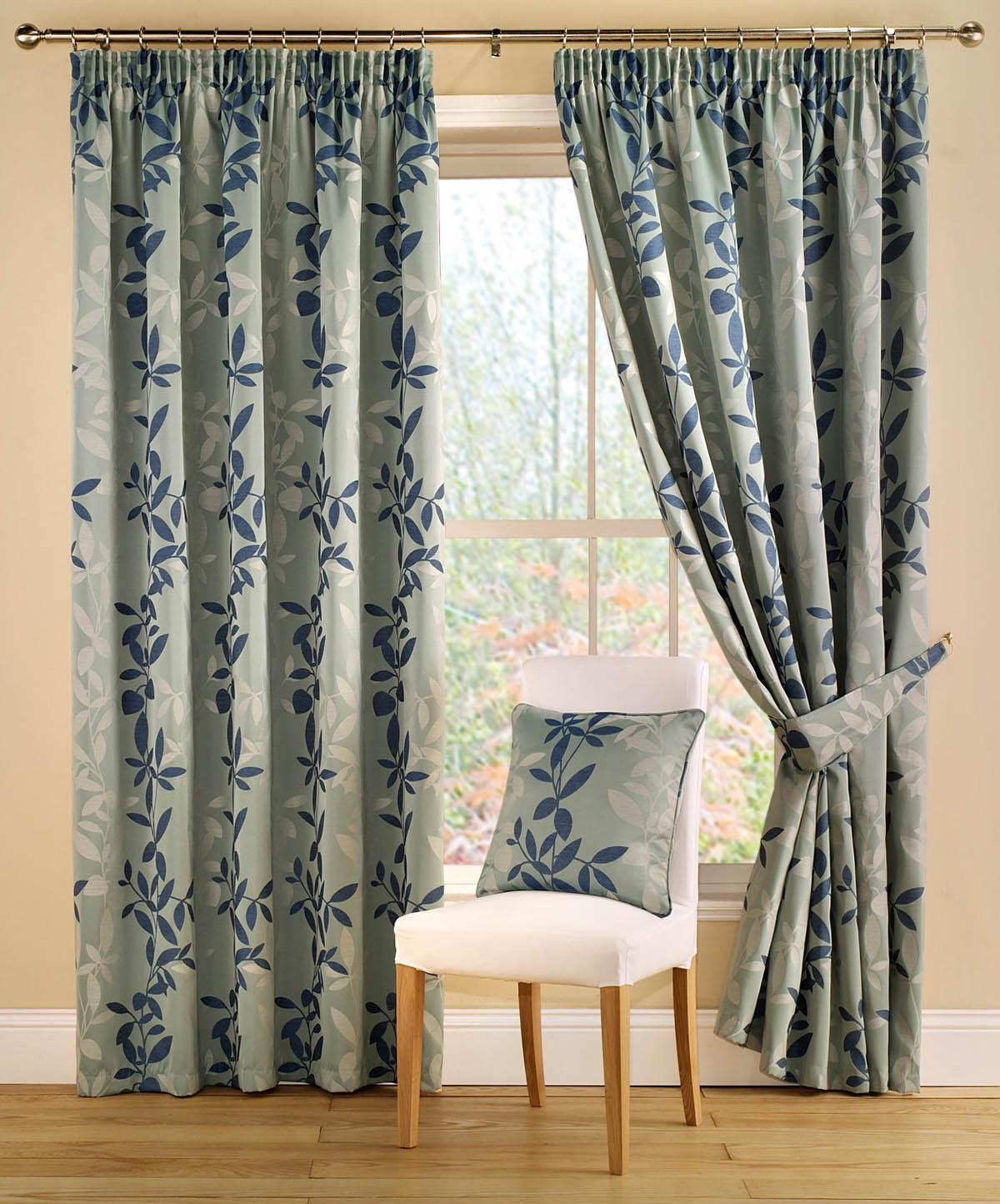 Botanica Ready Made Lined Curtains Teal Free UK Delivery Terrys Fabrics