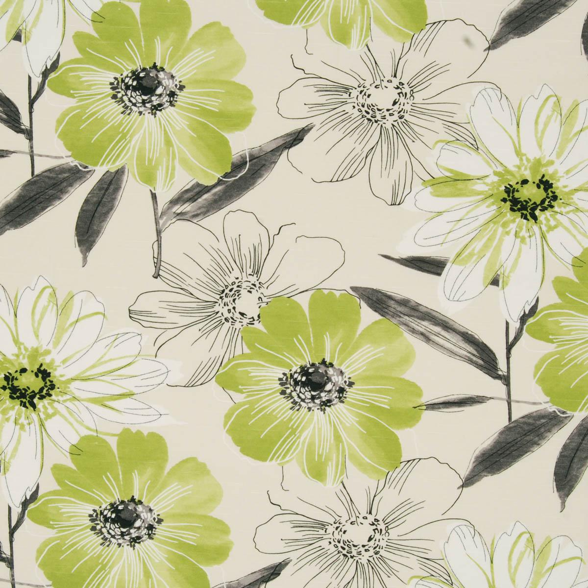 Isabella Lime Floral Curtain Fabric Cheap Printed
