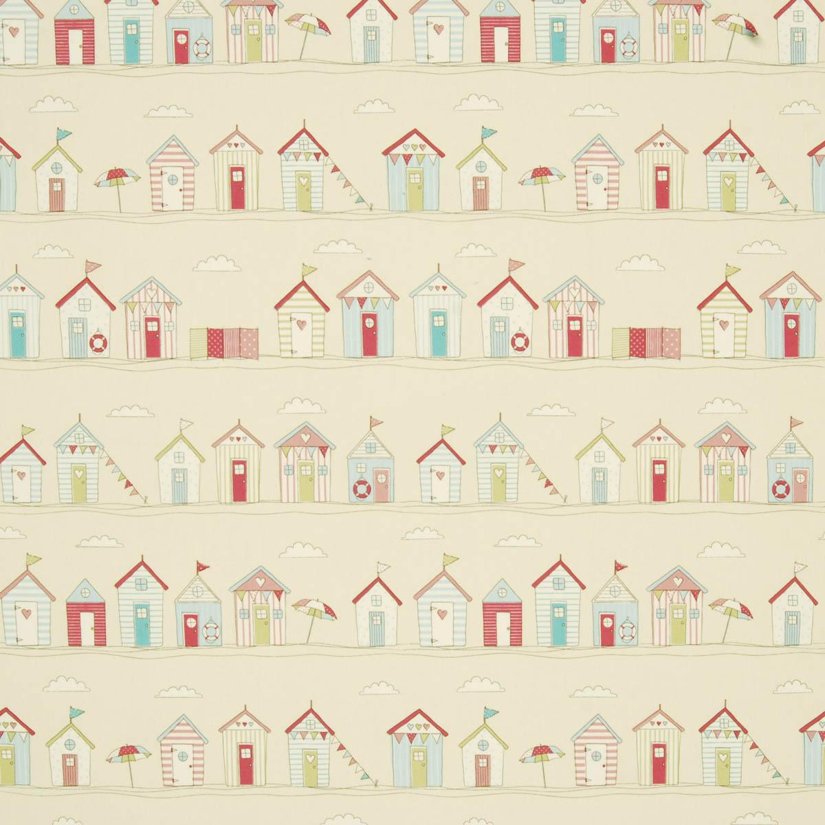 Pink shower curtains fabric - Beach Huts Curtain Fabric In Pink Prints Amp Checks Uk Delivery