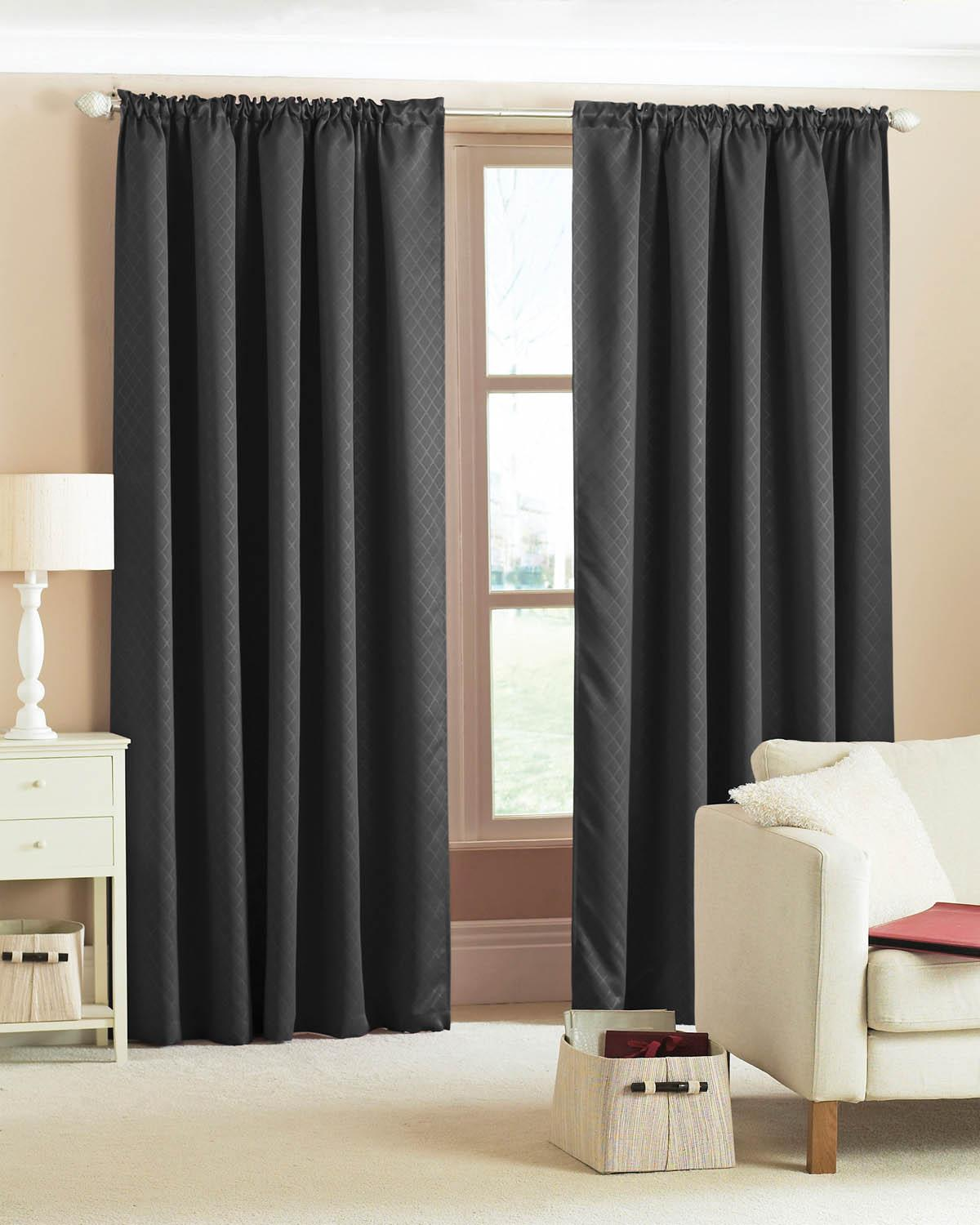 Diamond Woven Blackout Curtains Black  Free UK Delivery  Terrys ...