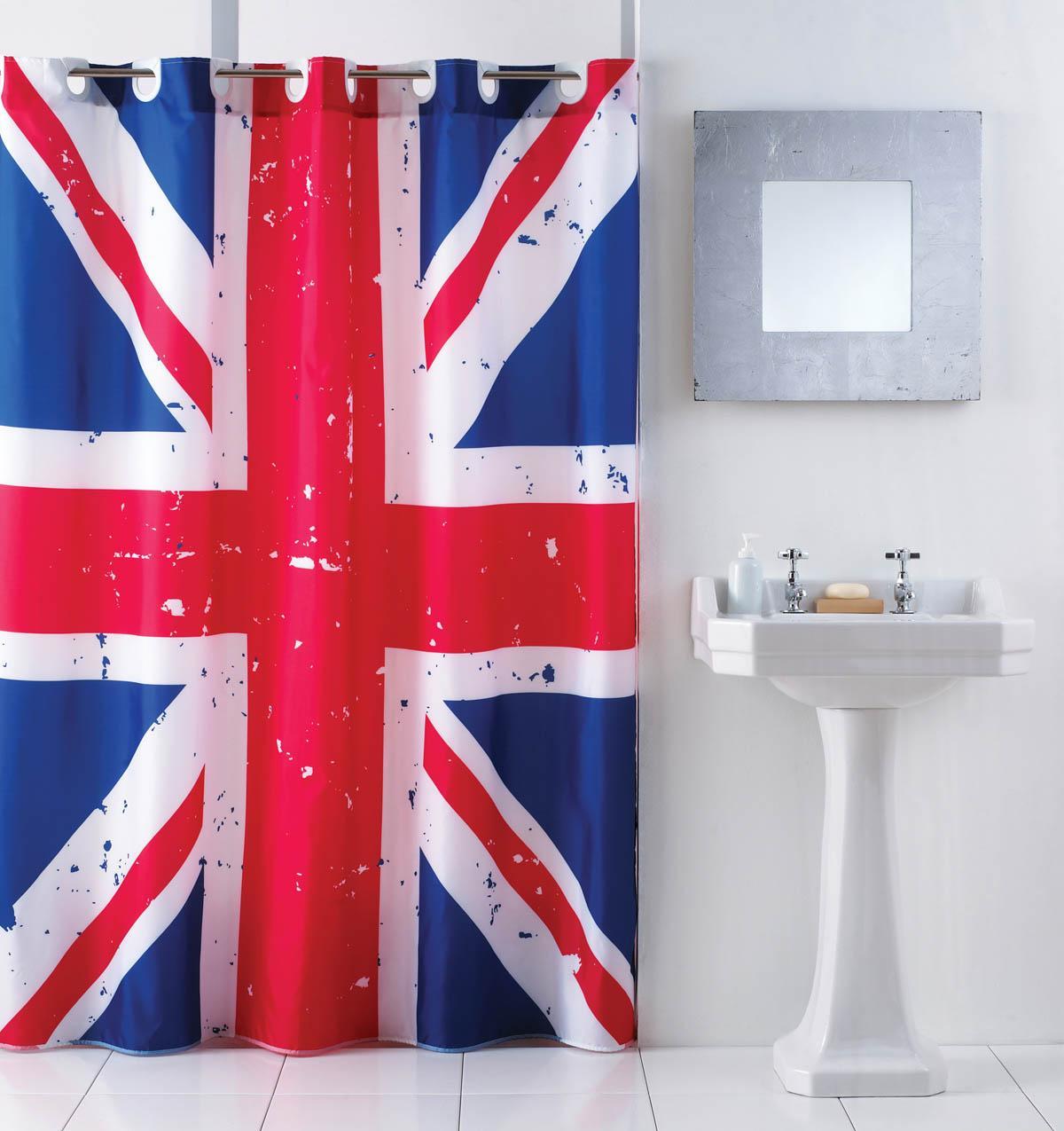 Hookless shower curtain blue - Union Jack Hookless Shower Curtain