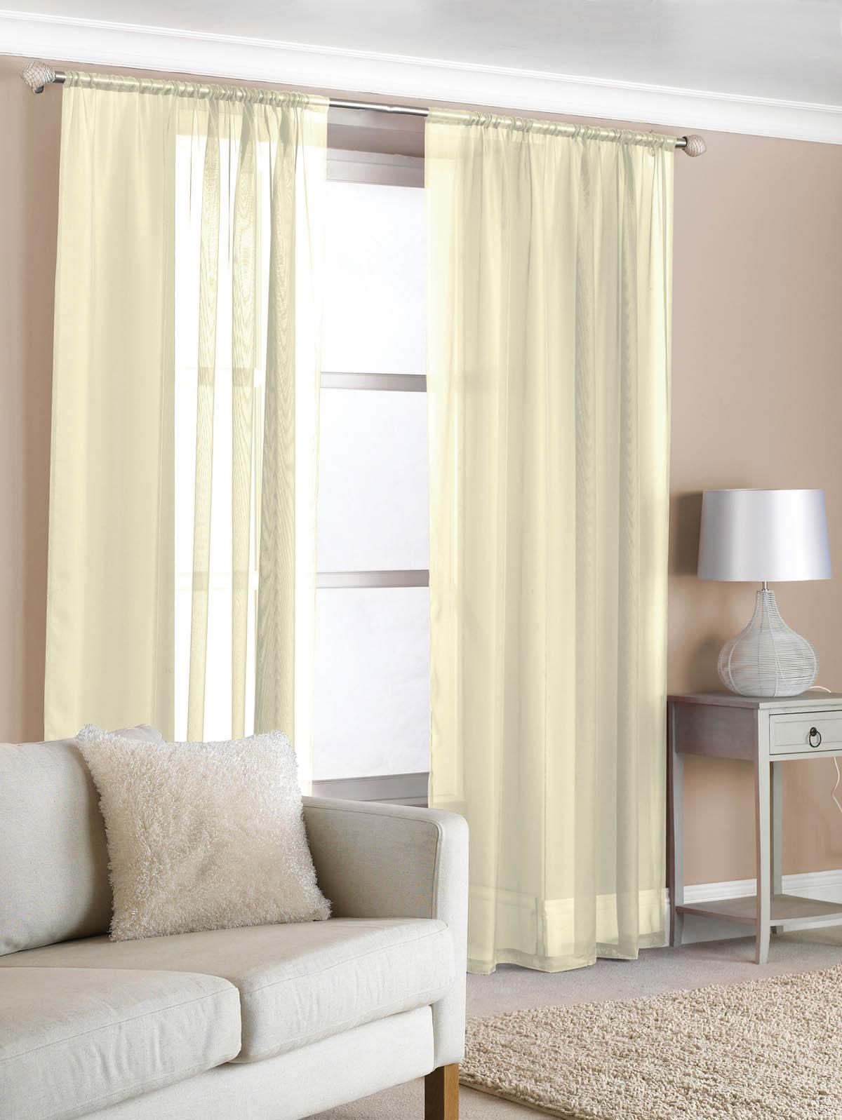 Slot top voile pair olive cheap green curtain voile uk delivery - Creamfrom 4 30