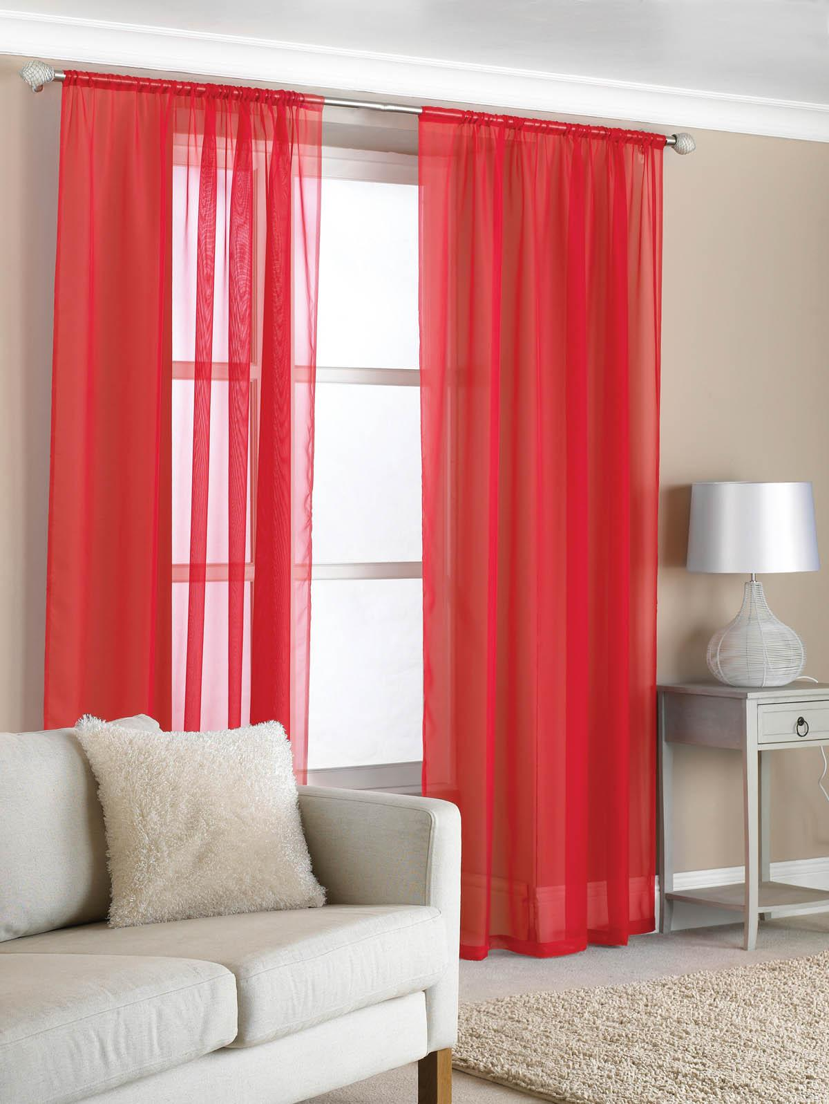Slot Top Voile (Pair) Red | Free UK Delivery | Terrys Fabrics