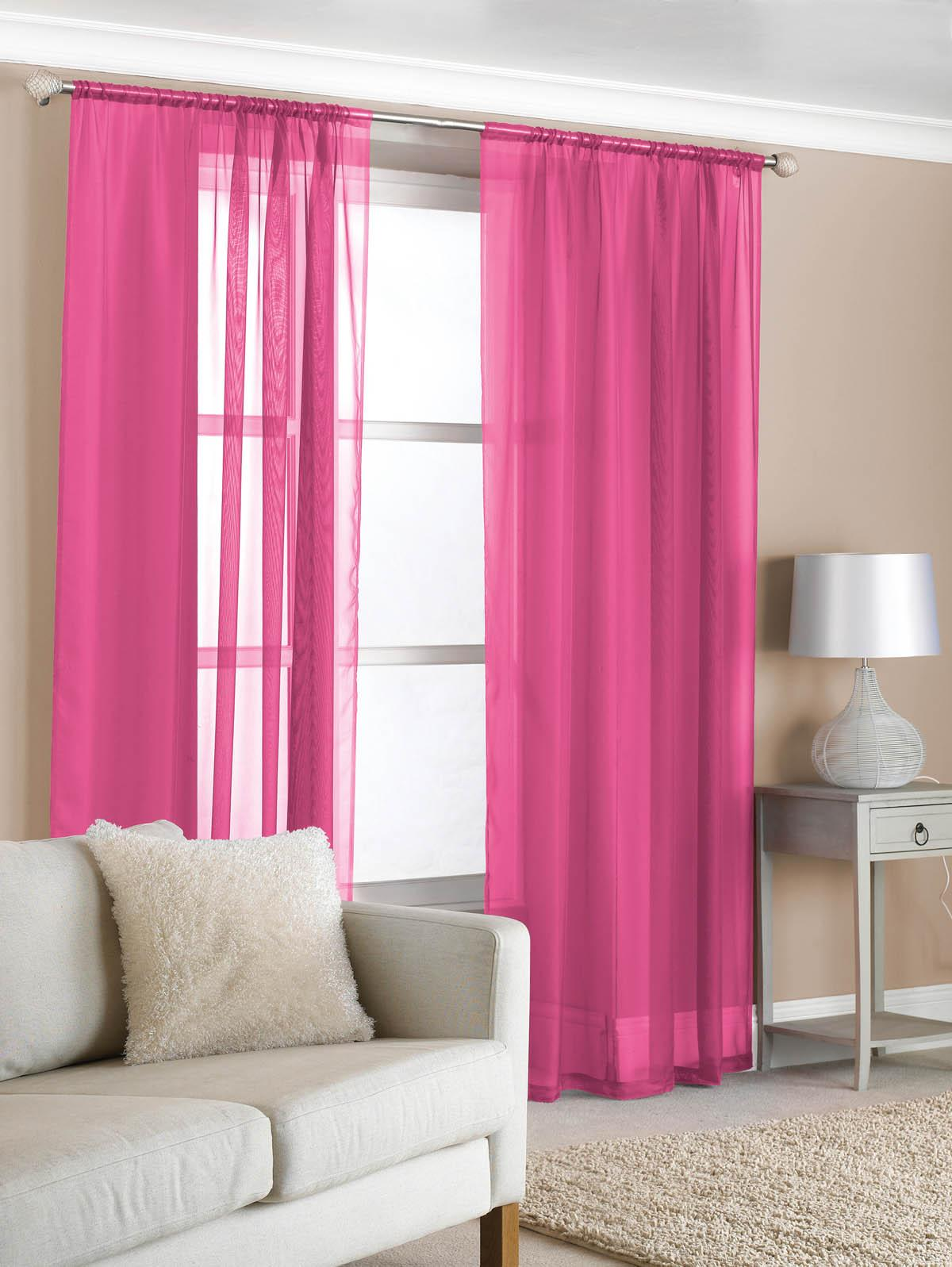 Hot pink curtains 108 inches - Slot Top Voile Pair