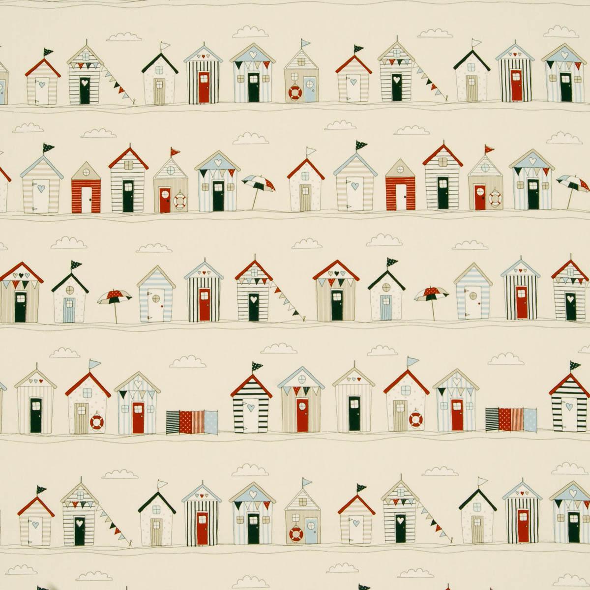 Beach Huts Pvc Curtain Fabric Blue Cheap Pvc Curtain
