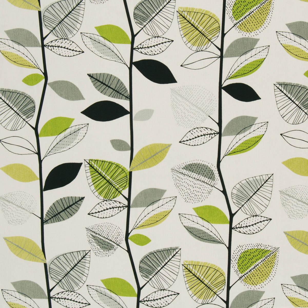 Autumn Leaves Curtain Fabric Lime Free UK Delivery