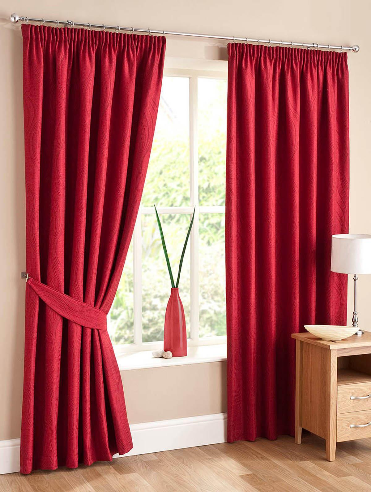 Red Swirl Lined Ready Made Curtains Free UK Delivery Terrys - Ready made curtains red