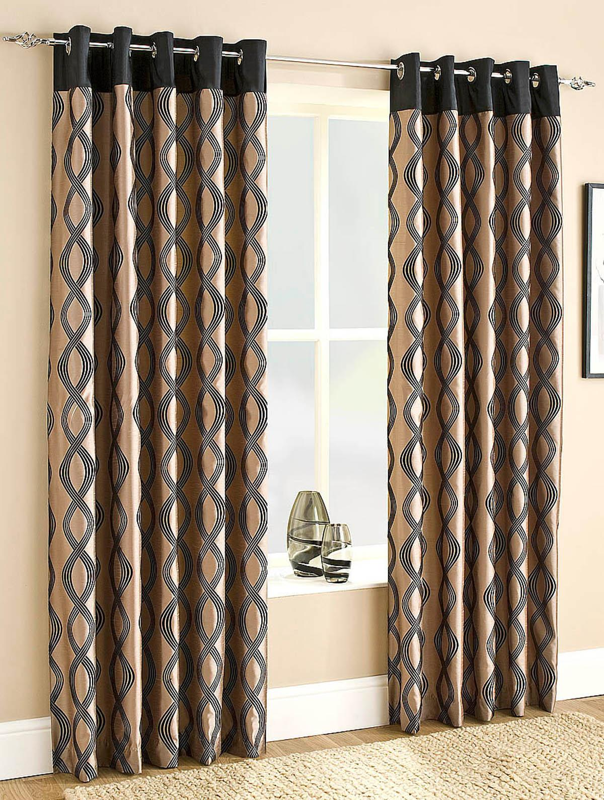 Campania Lined Eyelet Curtains Black