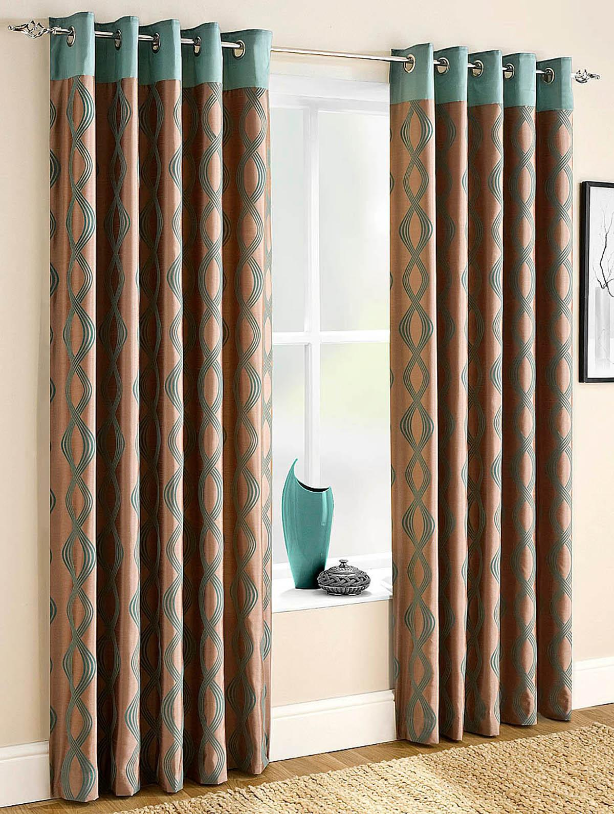 Campania Lined Eyelet Curtains Teal
