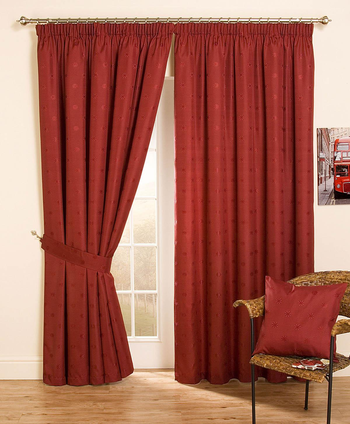 Vancouver Ready Made Lined Curtain Red Free UK Delivery Terrys - Ready made curtains red