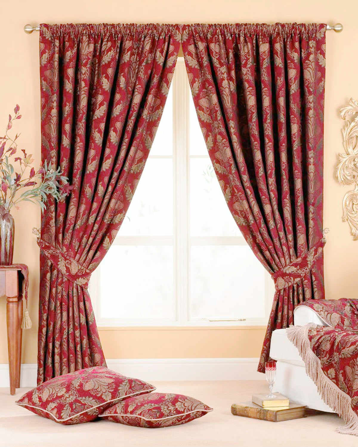 Shiraz Ready Made Curtains. Shriaz Ready Made Curtains Burgundy   Free UK Delivery   Terrys