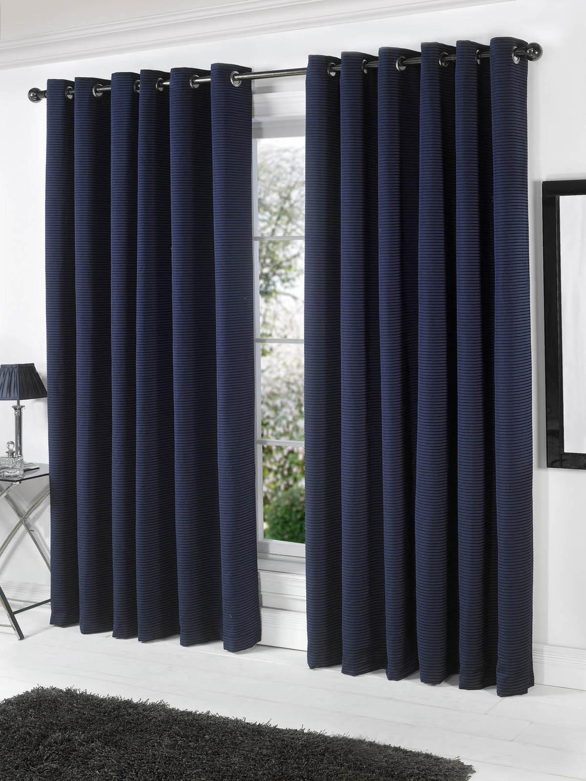 Stella Lined Eyelet Curtains Navy Free UK Delivery