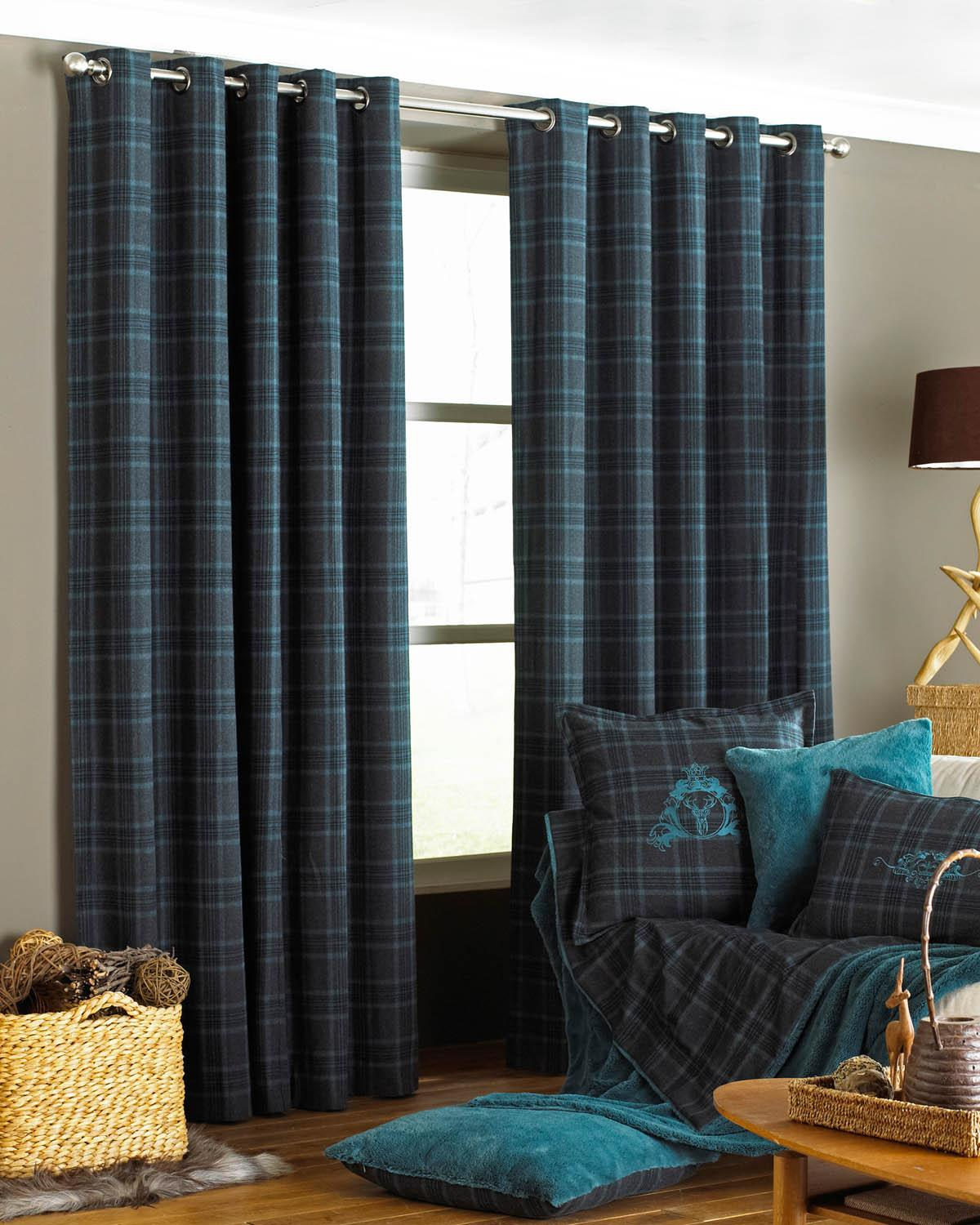 Verbier Ready Made Eyelet Curtains Teal Free UK Delivery Terrys Fabrics