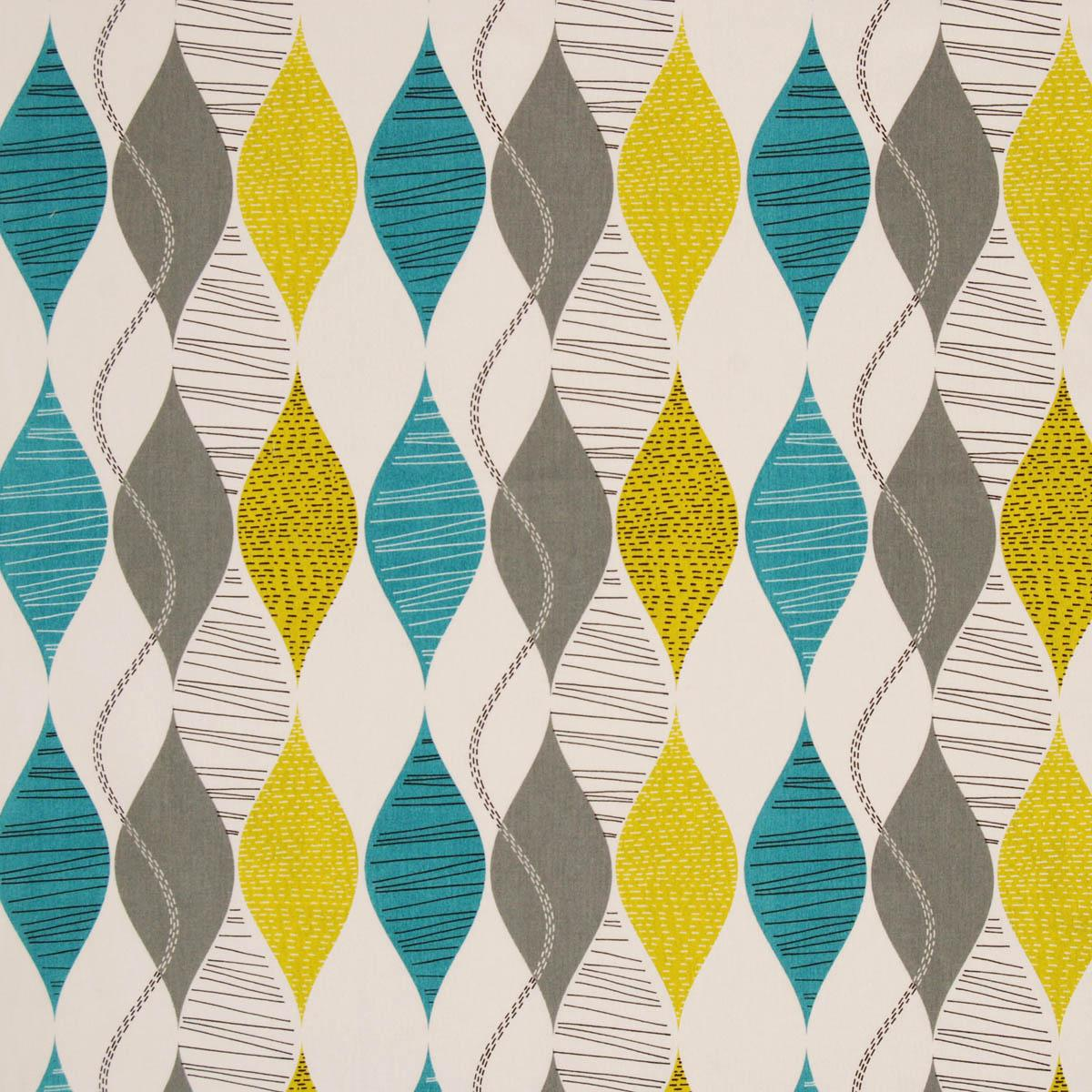 Alderley Curtain Fabric Teal | Free UK Delivery | Terrys Fabrics