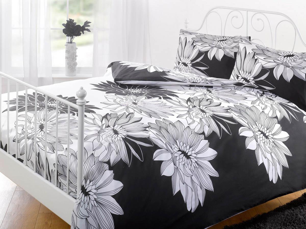 Black and white floral bed sheets - Megan Printed Duvet Cover Set