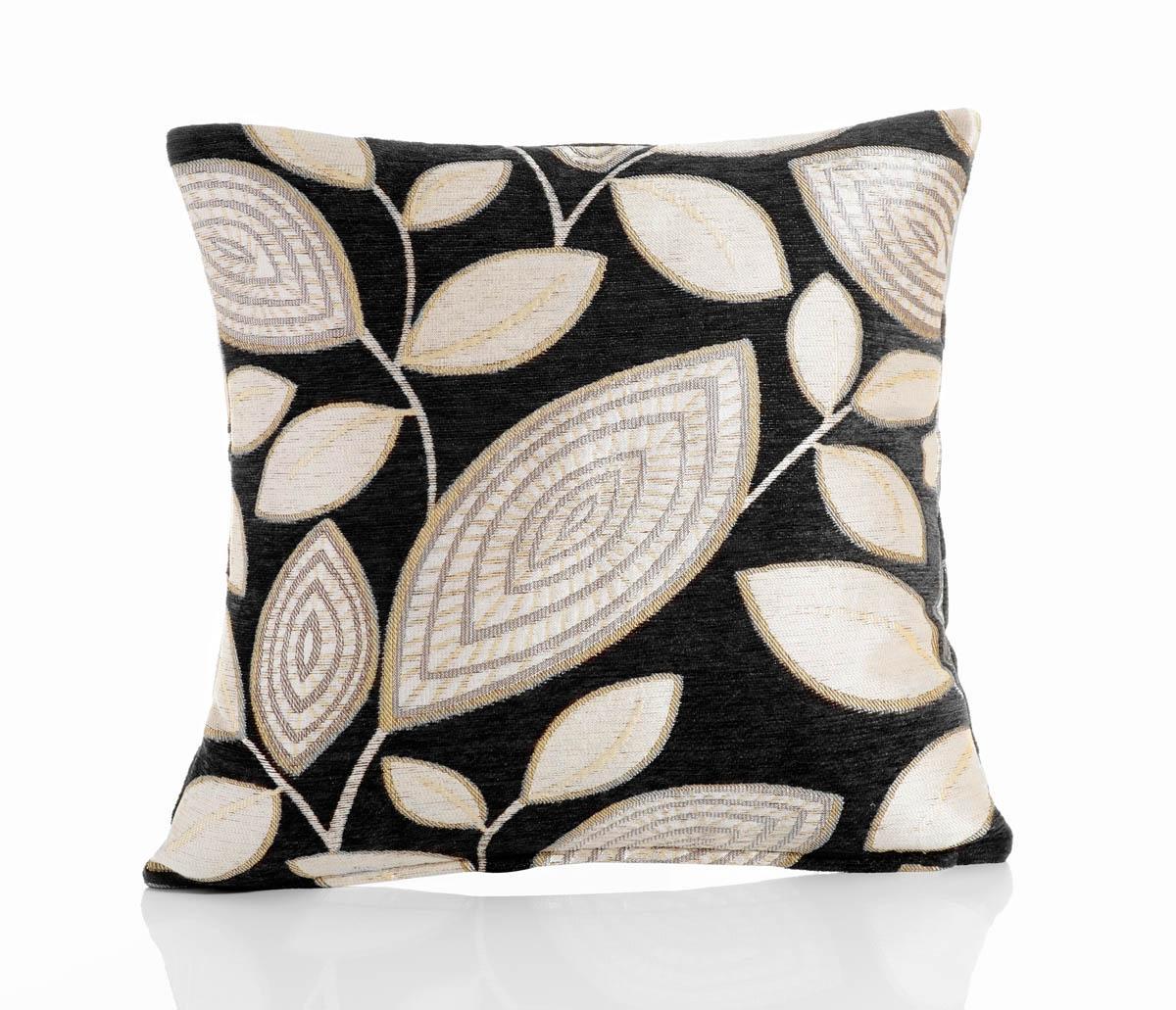 Black London Leaf Filled Cushion