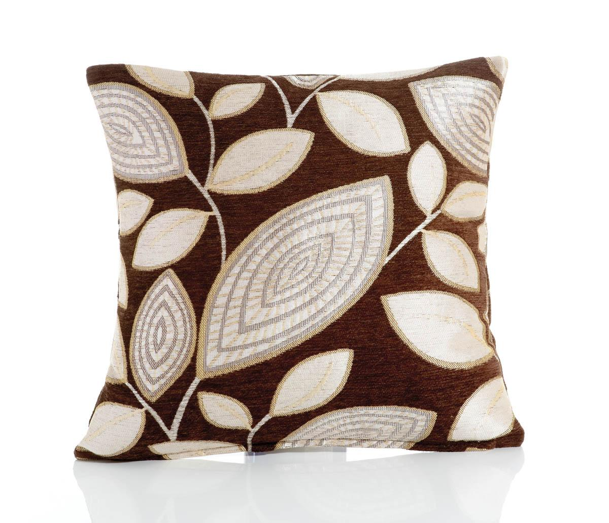 Chocolate London Leaf Filled Cushion