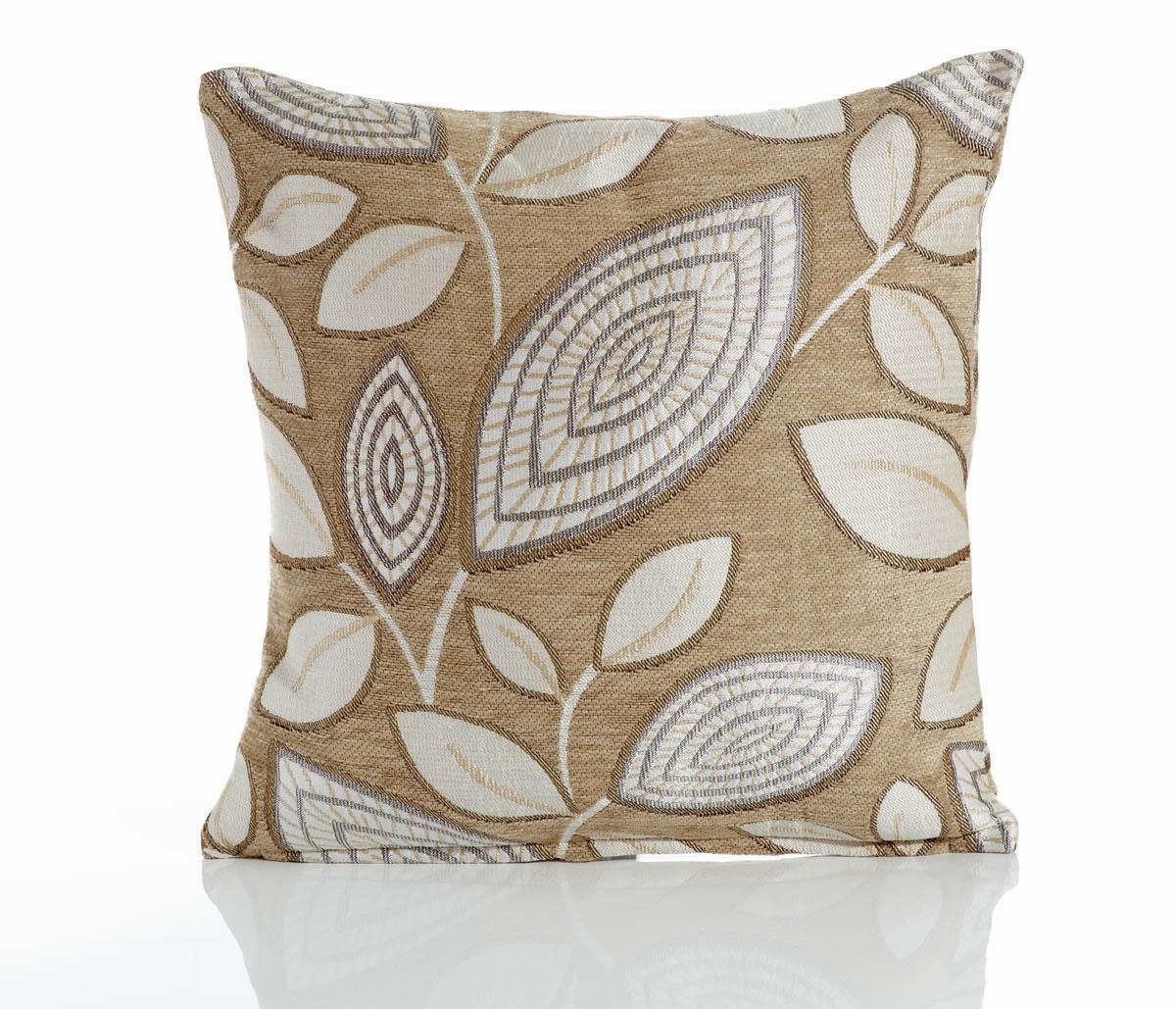Cream London Leaf Filled Cushion